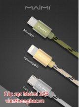 Cáp sạc Maimi X24 (1m) chân Micro USB/ Lightning/ Type C