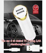 Tẩu sạc ô tô Maimi T5 2 cổng 2,4A chân Micro/ Lightning/ Type C